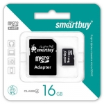 Flash Card Smartbuy microSDHC 16Gb + SD adapter