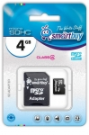 Flash Card Smartbuy microSDHC 4Gb + SD adapter